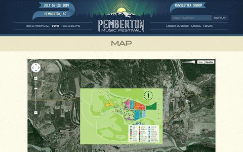 Screenshot of Maps & Directions Page pembertonmusicfestival.com - Map | Pemberton Music Festival | Canada's largest music, comedy & camping festival - captured Nov. 3, 2014