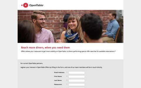 Screenshot of Landing Page opentable.com captured March 9, 2017