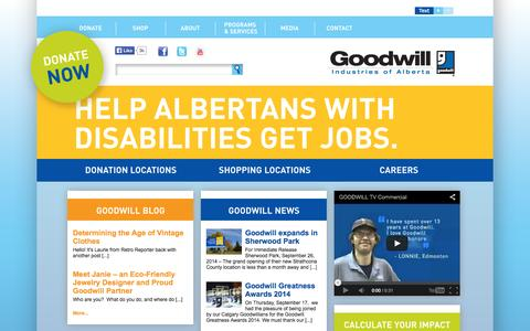 Screenshot of Home Page goodwill.ab.ca - Goodwill Industries of Alberta - captured Oct. 3, 2014