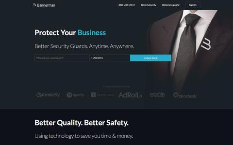 Screenshot of Home Page getbannerman.com - Private Security Services in San Francisco and Los Angeles - Bannerman - captured Nov. 3, 2015