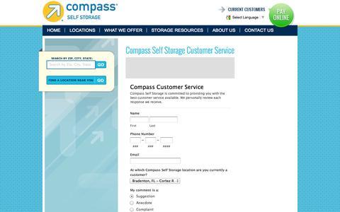 Screenshot of Support Page compassselfstorage.com - Compass Self Storage Customer Service - captured Sept. 30, 2014