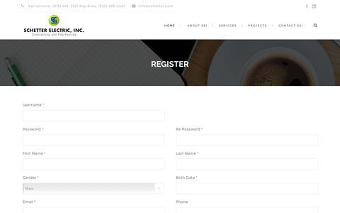 Screenshot of Signup Page schetter.com - Schetter Electric, Inc.   Sacramento & Bay Area Electrical - captured Nov. 19, 2016