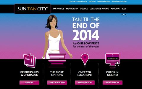 Screenshot of Home Page suntancity.com - Sun Tan City - Tanning Salons Near Work and Home - captured Sept. 23, 2014