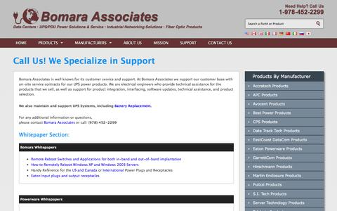 Screenshot of Support Page bomara.com - Bomara Associates: Sales, Service, Support & Battery Replacement - captured Nov. 23, 2016