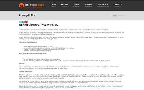 Screenshot of Privacy Page anfieldagency.co.uk - Anfield Agency - Privacy Policy - captured July 30, 2018