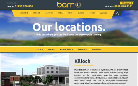 Screenshot of Locations Page barr.co.uk - Barr | Quarries | Surfacing & Civil Engineering | - captured July 25, 2018