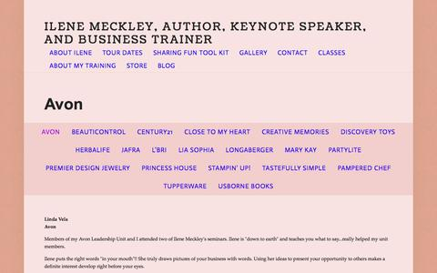 Screenshot of Testimonials Page ilenemeckley.com - Avon — Ilene Meckley, Author, Keynote Speaker, and Business Trainer - captured Aug. 3, 2015