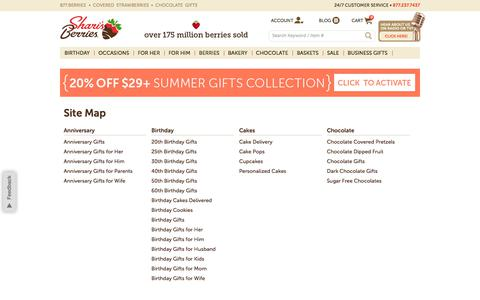Screenshot of Site Map Page berries.com captured July 20, 2018