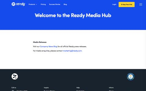 Screenshot of Press Page rezdy.com - Media Centre : Rezdy - captured Aug. 22, 2019