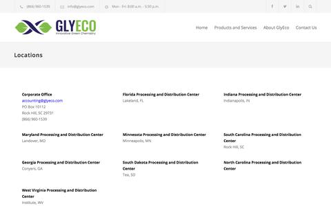 Screenshot of Locations Page glyeco.com - Locations – Glyeco - captured July 21, 2018