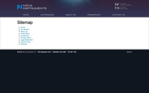 Screenshot of Site Map Page novaic.com - Sitemap | Nova Instruments - captured March 5, 2016