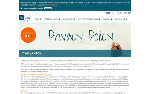 Screenshot of Privacy Page pm-law.co.uk - Privacy Policy | PM Law Limited - captured Oct. 1, 2014