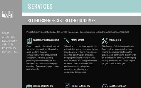 Screenshot of Services Page elaine.com - Services – Elaine Construction - captured Jan. 27, 2016