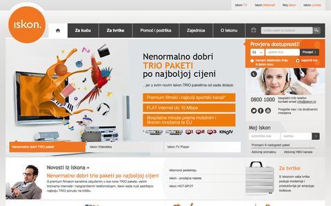 Screenshot of Home Page iskon.hr - Iskon - Internet, Televizija, Telefon – Iskon broadband telekom - captured Sept. 19, 2014