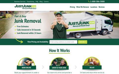 Screenshot of Home Page justjunk.com - Home Page - JUST JUNK® - captured Sept. 20, 2018