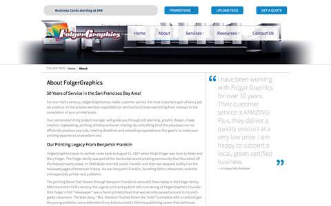 Screenshot of About Page folgergraphics.com - About - FolgerGraphics - captured Aug. 19, 2018