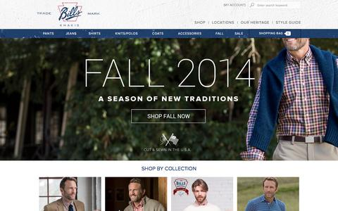 Screenshot of Home Page billskhakis.com - American Made Men's Clothing | Bills Khakis - captured Sept. 13, 2014