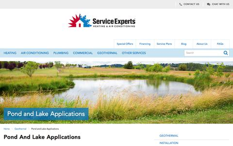 Geothermal Pond and Lake Applications | Service Experts Heating & Air Conditioning in North America