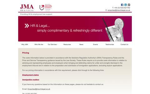 Screenshot of Pricing Page jma-hrlegal.co.uk - Pricing - JMA HR Legal - captured Dec. 17, 2018