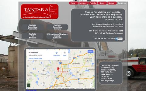 Screenshot of Contact Page tantaracorp.com - Contact Us - captured Oct. 27, 2014