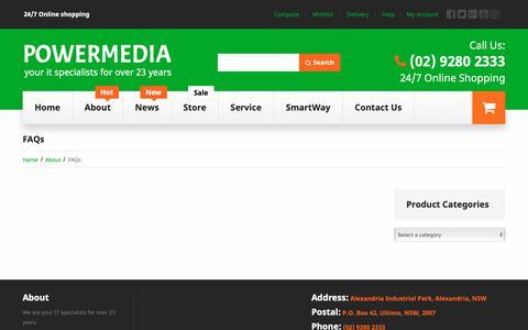 Screenshot of FAQ Page powermedia.com.au - FAQs  |  Powermedia - captured Nov. 5, 2018