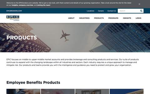 Screenshot of Products Page epicbrokers.com - Brokerage Products & Consultation Services | EPIC Brokers - captured Sept. 9, 2019
