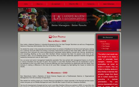 Screenshot of Team Page louisallen.co.za - Our People | Louis Allen Southern AfricaLouis Allen Southern Africa - captured Oct. 3, 2014