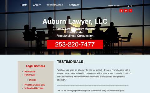 Screenshot of Testimonials Page auburnlawyer.com - Testimonials | Auburn Lawyer, LLC | Auburn, Washington - captured Oct. 18, 2018