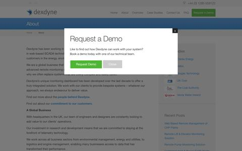 Screenshot of About Page dexdyne.com - Leader in web based SCADA technology - Dexdyne - captured Feb. 9, 2016