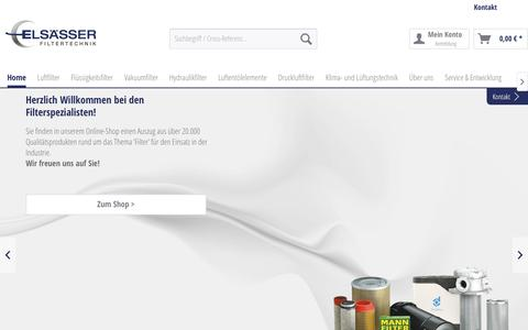 Screenshot of Home Page filter-technik.de - ELSÄSSER Filtertechnik - captured May 7, 2018