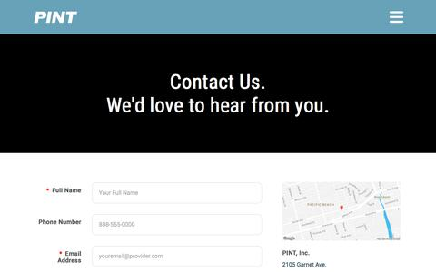 Screenshot of Contact Page pint.com - Contact PINT | Web Development Agency San Diego | PINT - captured July 12, 2018