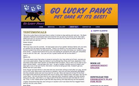 Screenshot of Testimonials Page goluckypaws.com - Go Lucky Paws: Testimonials - captured Sept. 30, 2014