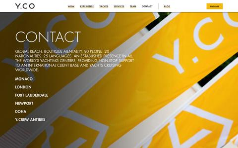 Screenshot of Contact Page y.co - Superyacht brokerage, charter and management. Offices worldwide | Y.CO - captured Sept. 19, 2014