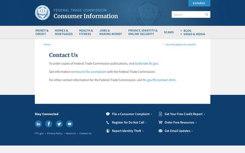 Screenshot of Contact Page ftc.gov - Contact Us   Consumer Information - captured Sept. 27, 2018