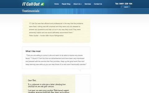 Screenshot of Testimonials Page itcallout.com.au - Testimonials | Computer Repairs Perth - IT Call Out - captured Oct. 4, 2014