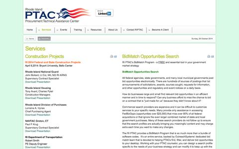 Screenshot of Services Page riptac.org - Rhode island PTAC - Services - captured Oct. 26, 2014