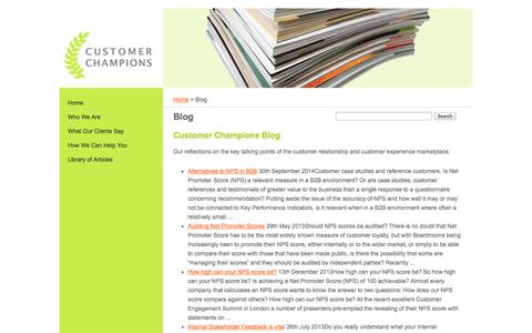 Screenshot of Blog customerchampions.co.uk - Customer relationship and experience blog - captured Oct. 3, 2014