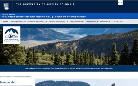 Screenshot of Signup Page ubc.ca - Sign Up | Rural Health Services Research Network of BC - captured Oct. 20, 2018