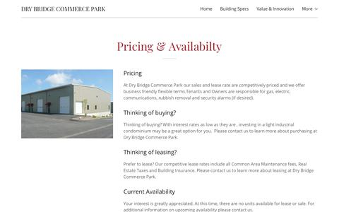 Screenshot of Pricing Page drybridgecommercepark.com - Pricing & Availability | Dry Bridge Commerce Park - captured Aug. 8, 2018