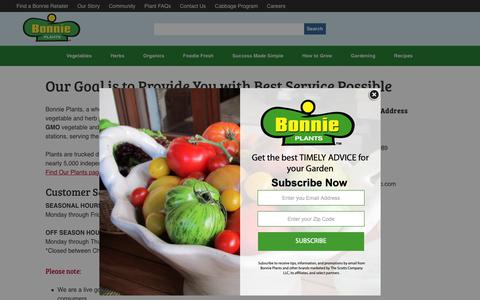 Screenshot of Contact Page bonnieplants.com - Our Goal is to Provide You with Best Service Possible - Bonnie Plants - captured Oct. 6, 2018