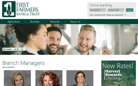 Screenshot of Team Page ffbt.com - Branch Managers - First Farmers Bank & Trust - captured Oct. 13, 2017