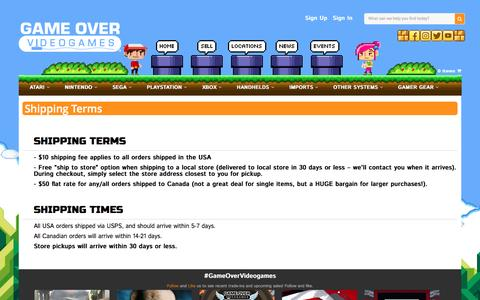 Screenshot of Terms Page gameovervideogames.com - Shipping Terms | Game Over Videogames - captured April 1, 2017