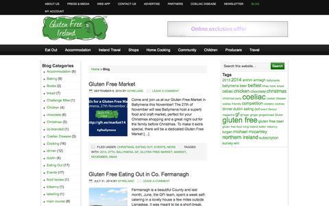 Screenshot of Blog glutenfreeireland.com - Coeliac News from Gluten Free Ireland - captured Oct. 3, 2014