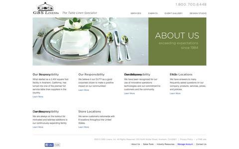 Screenshot of About Page gbslinens.com - Linen Rentals | GBS Linens – About Us - captured Oct. 1, 2014