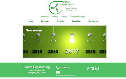 Screenshot of Press Page greenengineeringmo.com - News Room - captured Sept. 20, 2017