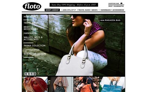 Screenshot of Home Page flotoimports.com - Leather Briefcases, Leather Totes & Leather Duffle Bags For Men & Women at Floto Imports - captured Sept. 19, 2014