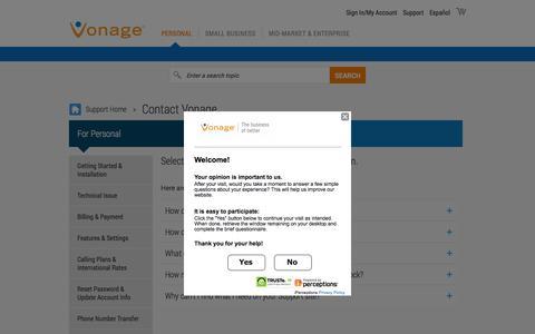 Screenshot of Contact Page vonage.com - Contact Vonage Support - captured Dec. 3, 2015