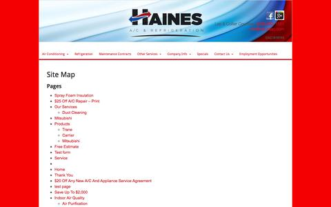 Screenshot of Site Map Page hainesac.com - Air Conditioning Company Fort Myers   Haines Air Conditioning - captured July 13, 2017