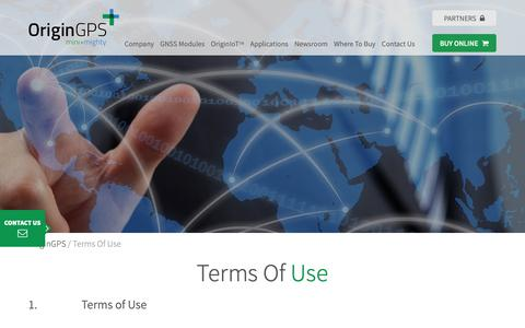Screenshot of Terms Page origingps.com - Terms Of Use - OriginGPS - captured Oct. 19, 2018
