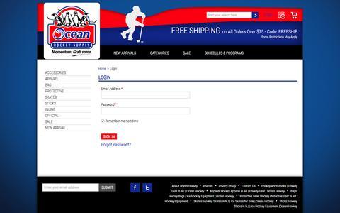 Screenshot of Login Page oceanhockey.com - Ocean Hockey Supply - Login - captured Feb. 13, 2016